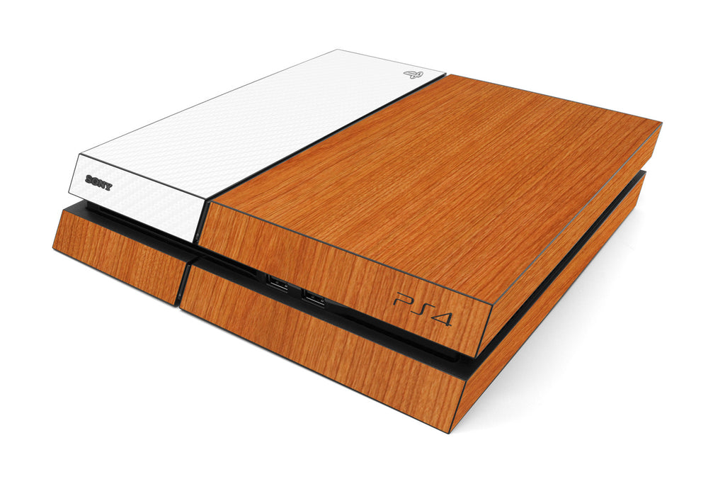 Playstation 4 Two/Tone - Light Wood/White Carbon Fiber - iCarbons