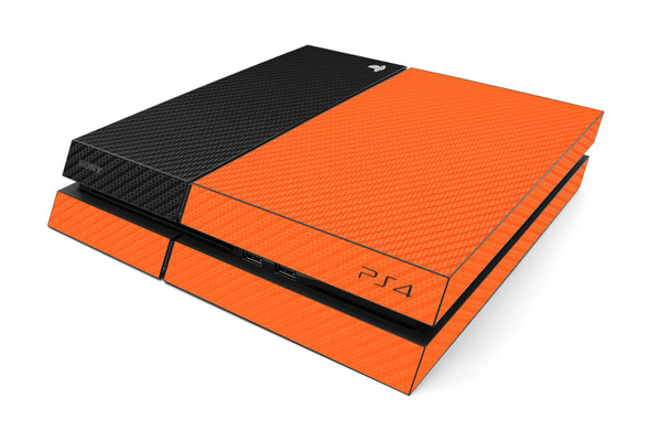 Playstation 4 Two/Tone - Orange/Black Carbon Fiber - iCarbons