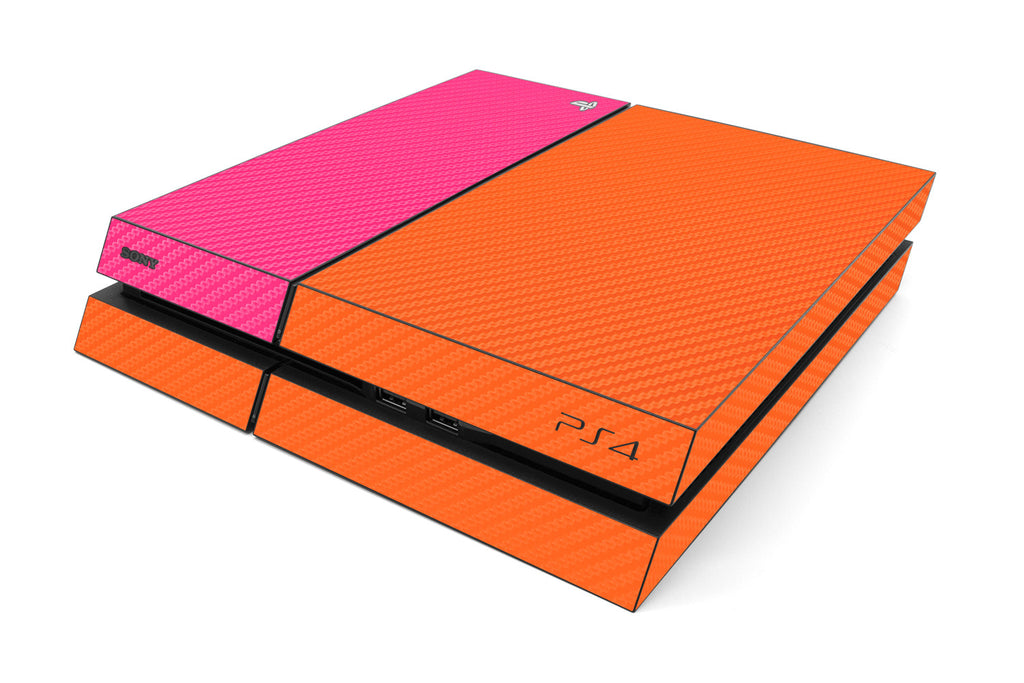 Playstation 4 Two/Tone - Orange/Pink Carbon Fiber - iCarbons