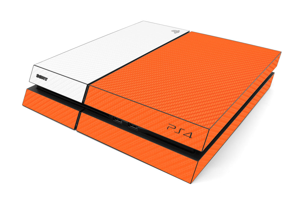Playstation 4 Two/Tone - Orange/White Carbon Fiber - iCarbons