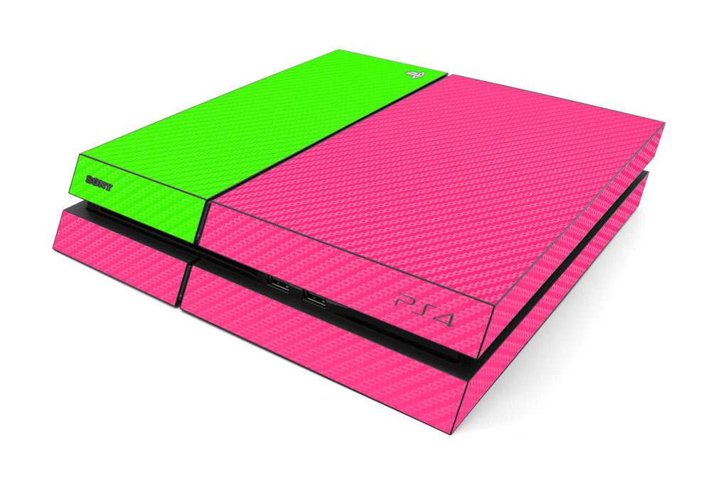 Playstation 4 Two/Tone - Pink/Green Carbon Fiber - iCarbons