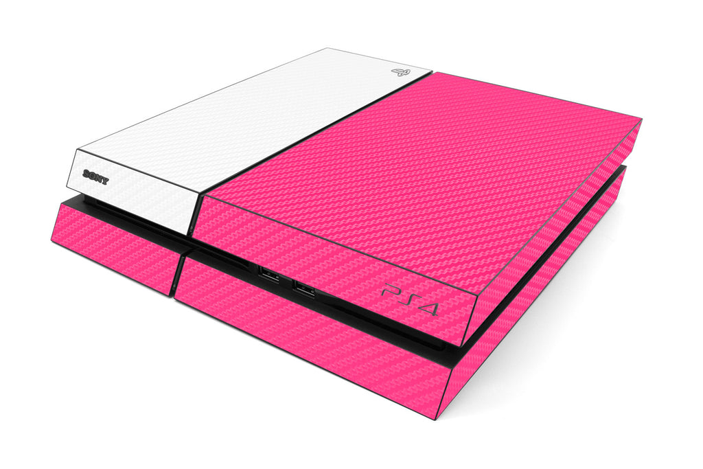 Playstation 4 Two/Tone - Pink/White Carbon Fiber - iCarbons