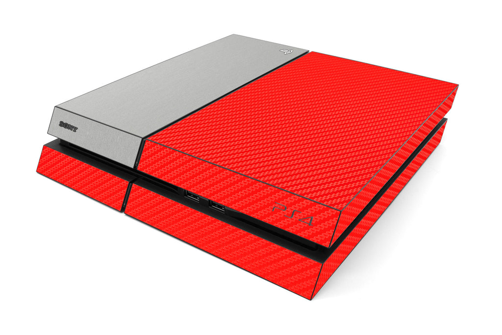 Playstation 4 Two/Tone - Red/Brushed Aluminum - iCarbons