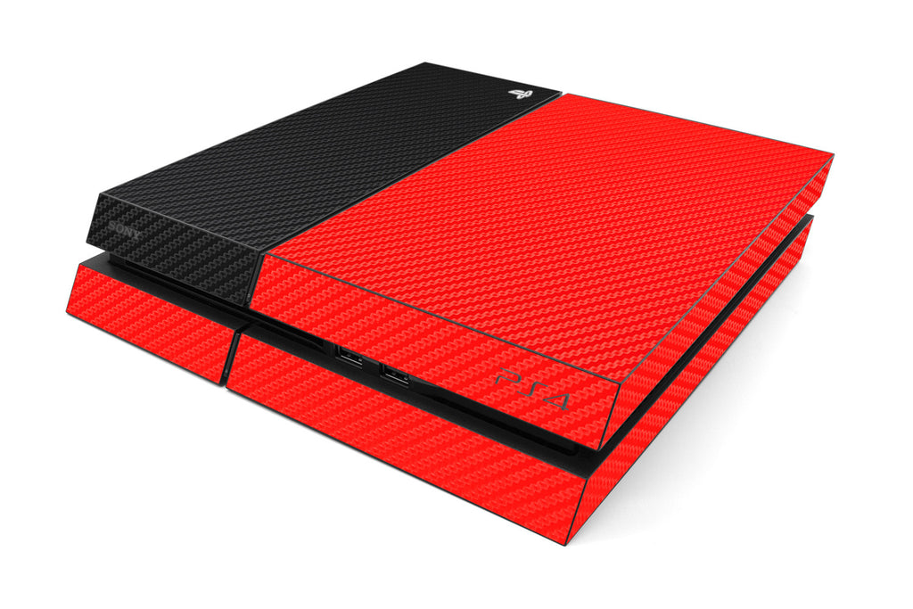 Playstation 4 Two/Tone - Red/Black Carbon Fiber - iCarbons