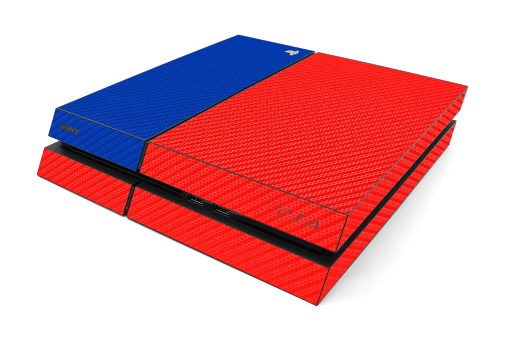 Playstation 4 Two/Tone - Red/Blue Carbon Fiber - iCarbons