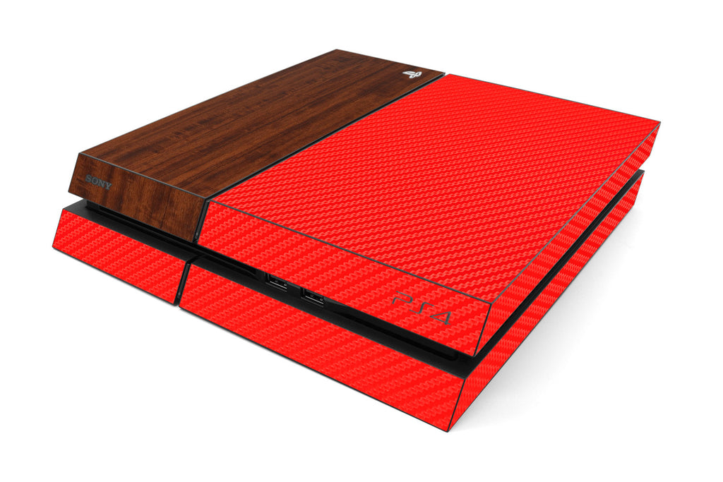 Playstation 4 Two/Tone - Red/Dark Wood - iCarbons