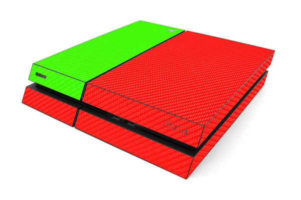 Playstation 4 Two/Tone - Red/Green Carbon Fiber - iCarbons