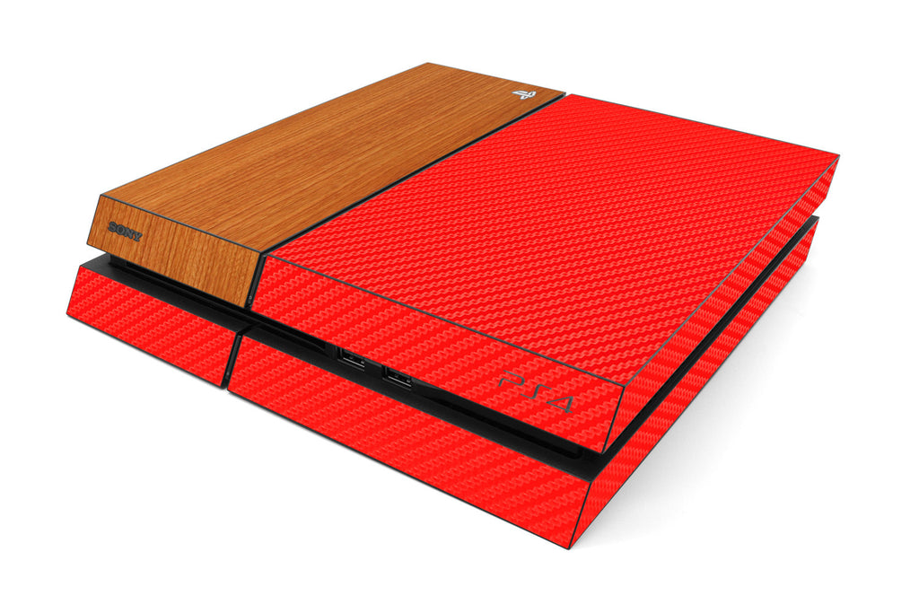 Playstation 4 Two/Tone - Red/Light Wood - iCarbons
