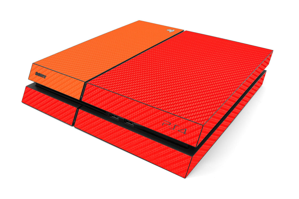 Playstation 4 Two/Tone - Red/Orange Carbon Fiber - iCarbons
