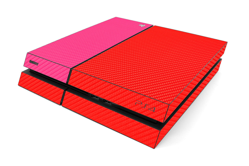 Playstation 4 Two/Tone - Red/Pink Carbon Fiber - iCarbons