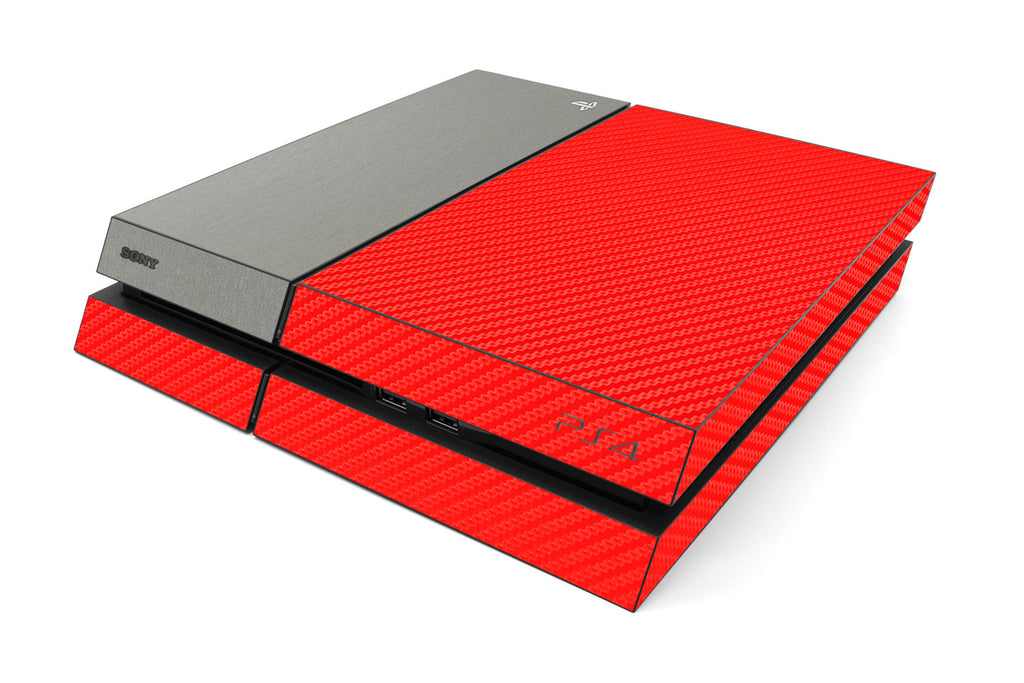 Playstation 4 Two/Tone - Red/Brushed Titanium - iCarbons