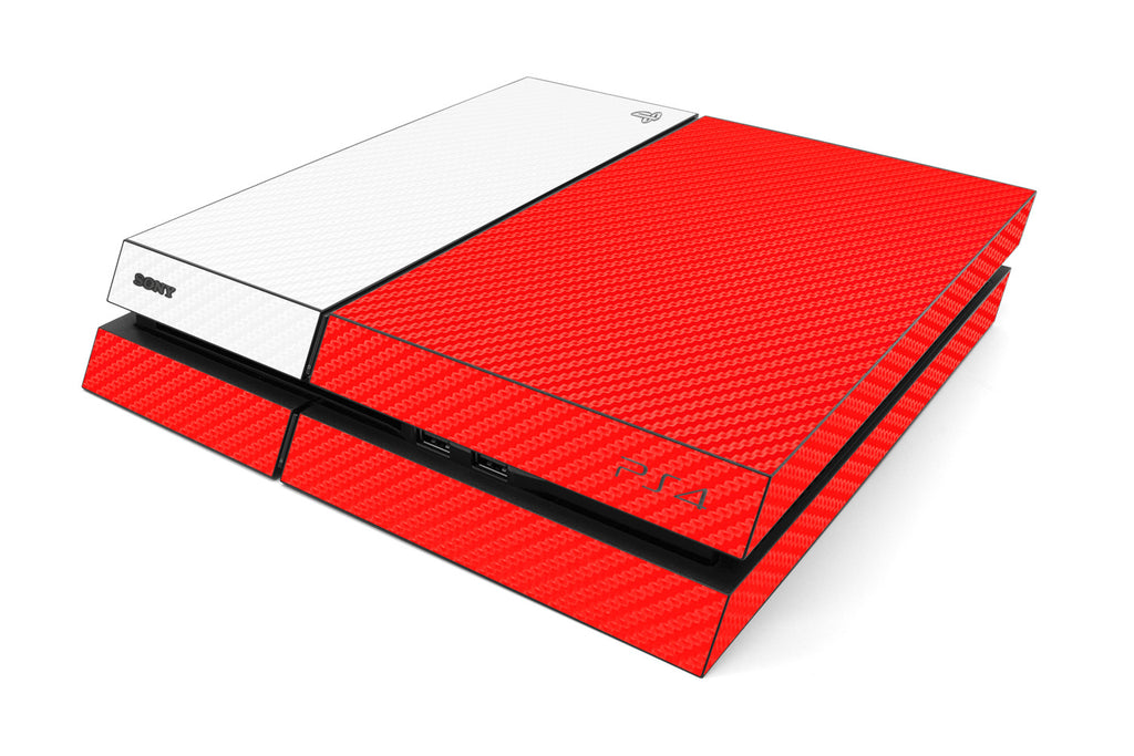 Playstation 4 Two/Tone - Red/White Carbon Fiber - iCarbons