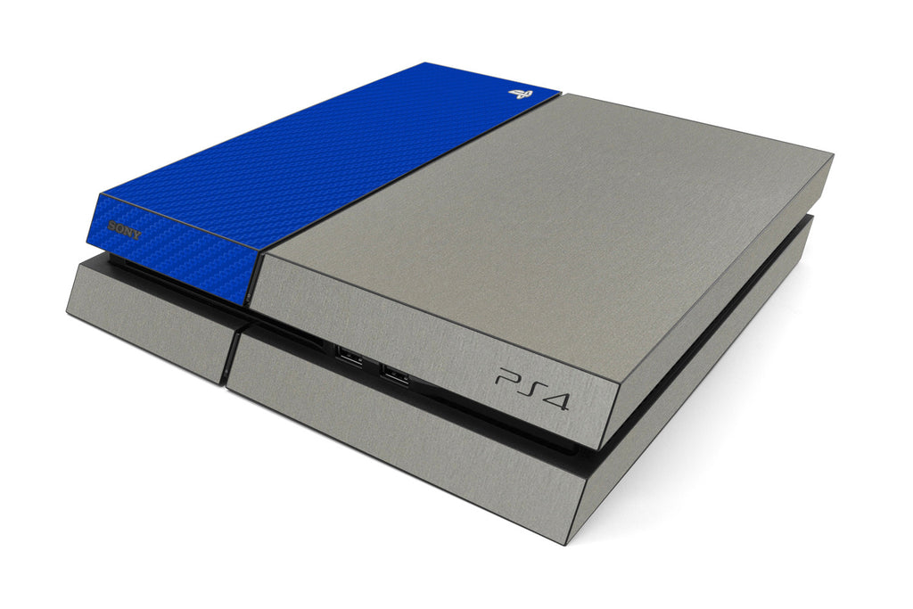 Playstation 4 Two/Tone - Brushed Titanium/Blue Carbon Fiber - iCarbons
