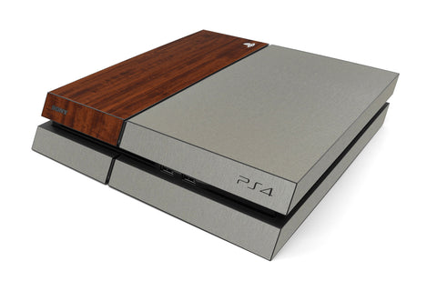 Playstation 4 Two/Tone - Brushed Titanium/Dark Wood - iCarbons