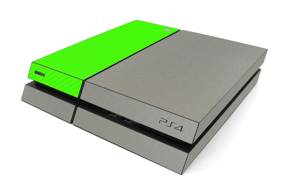 Playstation 4 Two/Tone - Brushed Titanium/Green Carbon Fiber - iCarbons