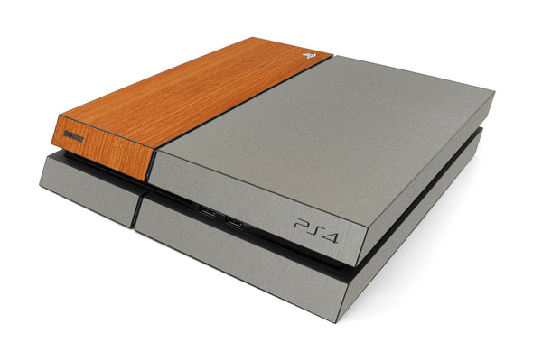 Playstation 4 Two/Tone - Brushed Titanium/Light Wood - iCarbons