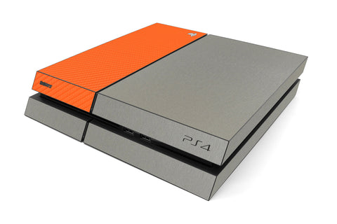 Playstation 4 Two/Tone - Brushed Titanium/Orange Carbon Fiber - iCarbons