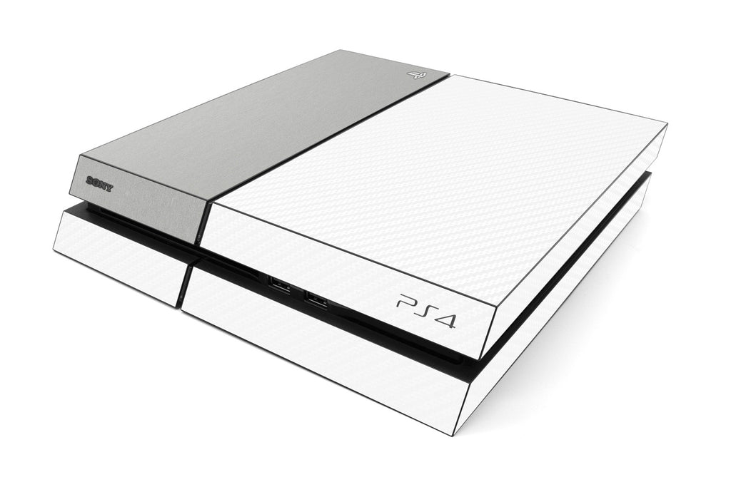 Playstation 4 Two/Tone - White/Brushed Aluminum - iCarbons