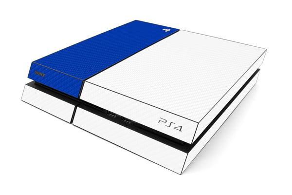 Playstation 4 Two/Tone - White/Blue Carbon Fiber - iCarbons