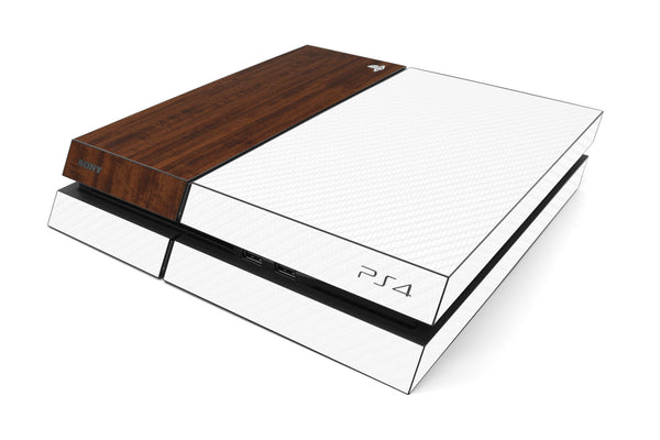 Playstation 4 Two/Tone - White/Dark Wood - iCarbons