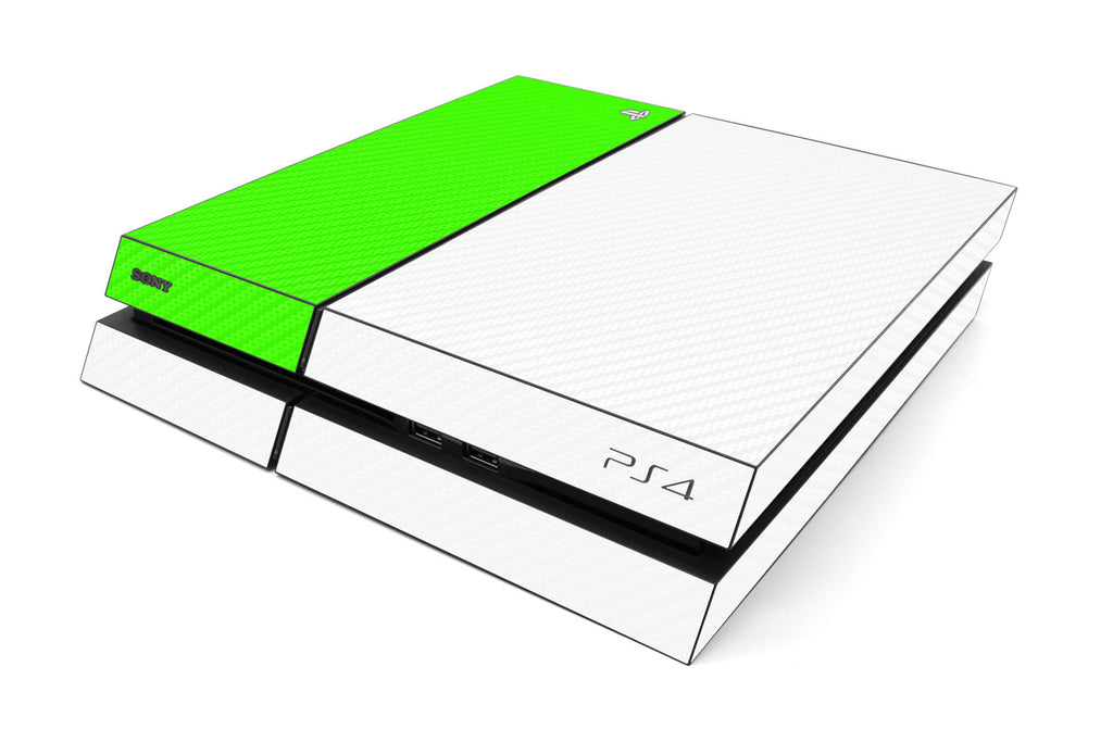 Playstation 4 Two/Tone - White/Green Carbon Fiber - iCarbons