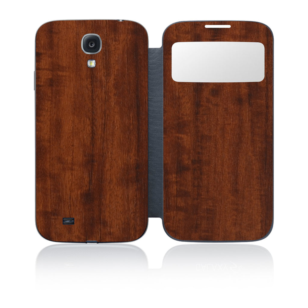 Galaxy S4 S-View Flip Cover - Dark Wood - iCarbons