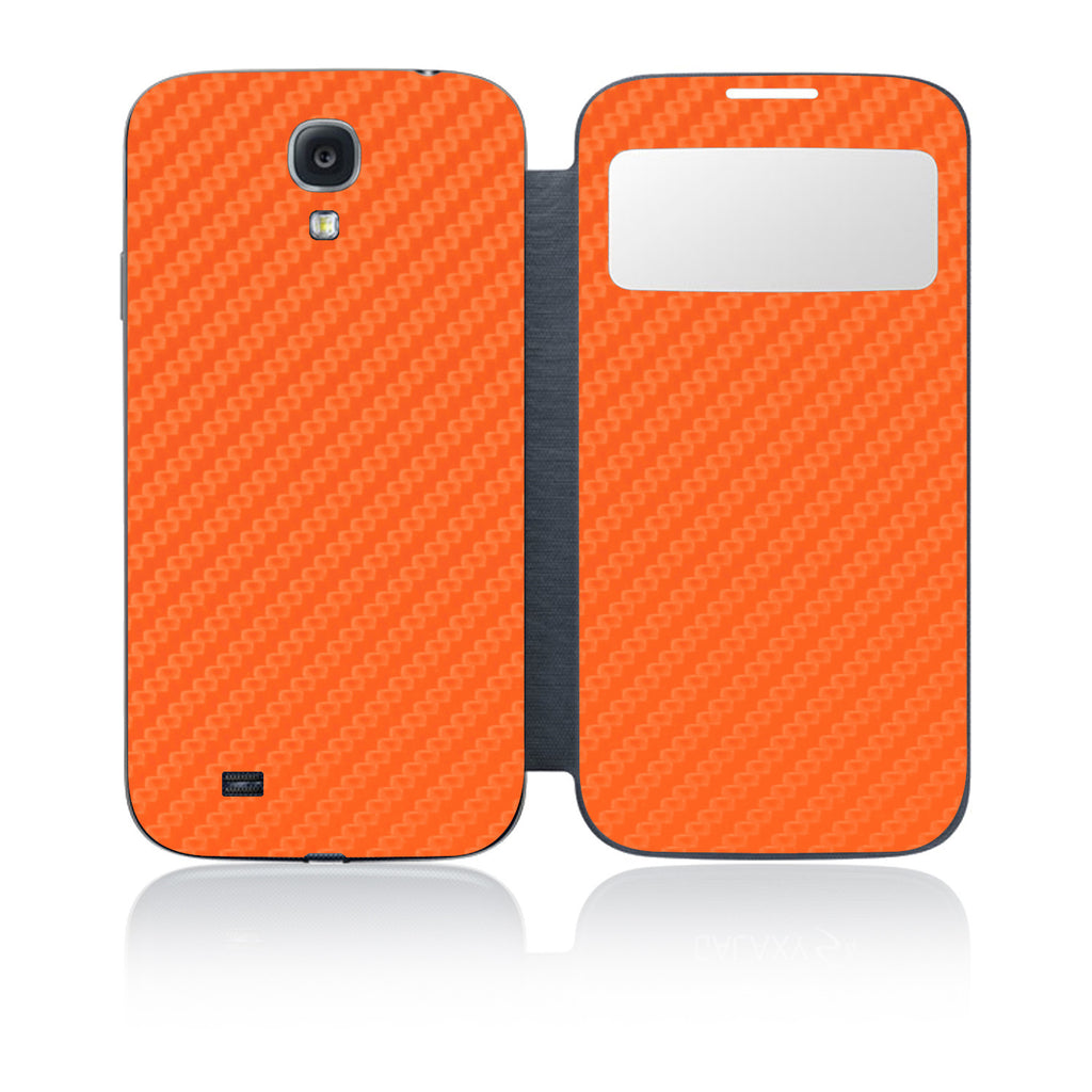 Galaxy S4 S-View Flip Cover - Orange Carbon Fiber - iCarbons