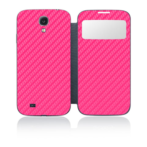 Galaxy S4 S-View Flip Cover - Pink Carbon Fiber - iCarbons