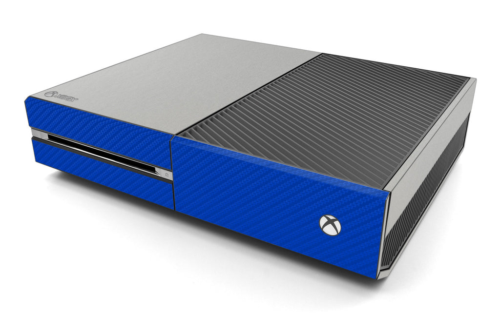 Xbox One Two/Tone - Brushed Aluminum/Blue Carbon Fiber - iCarbons