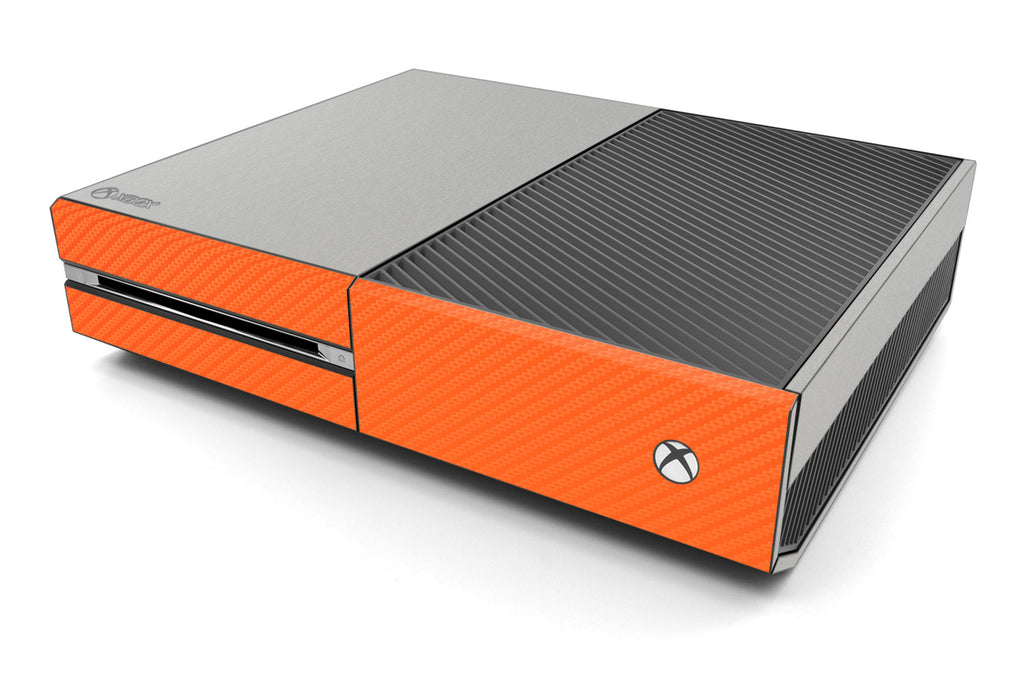 Xbox One Two/Tone - Brushed Aluminum/Orange Carbon Fiber - iCarbons
