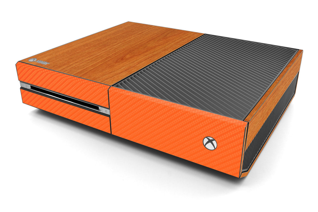 Xbox One Two/Tone - Light Wood/Orange Carbon Fiber - iCarbons