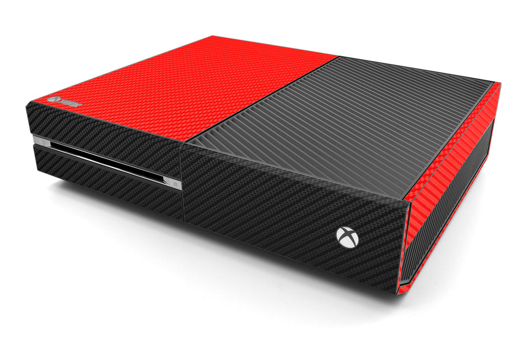 Xbox One Two/Tone - Red/Black Carbon Fiber - iCarbons