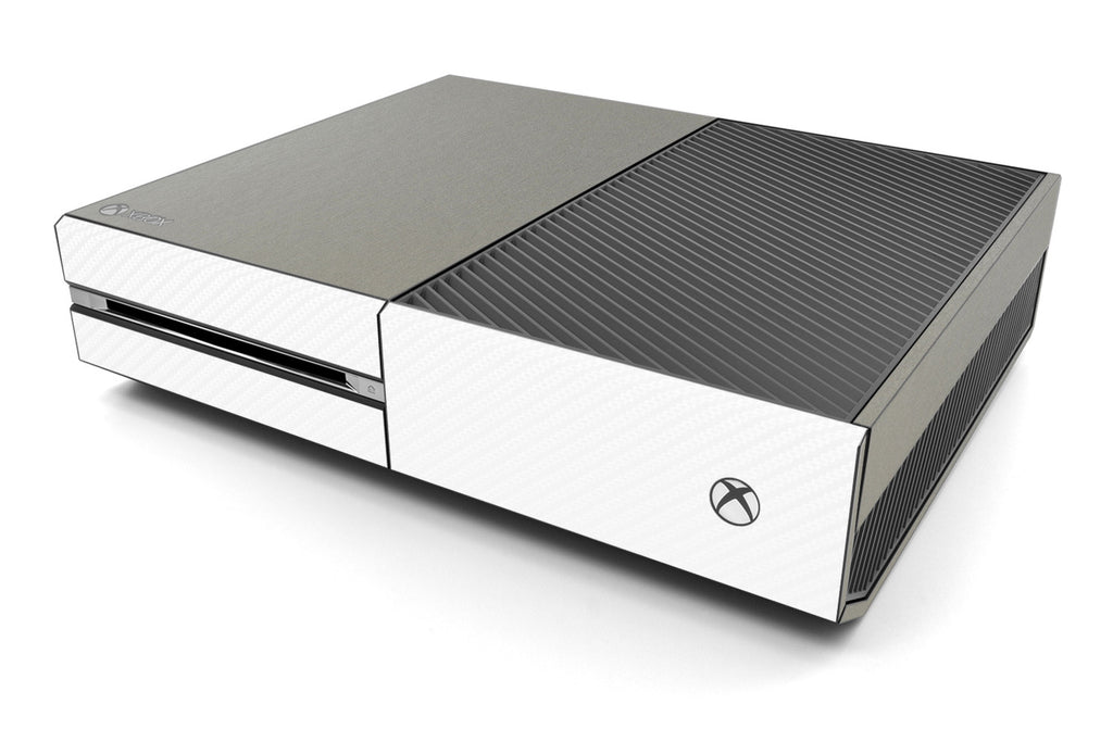 Xbox One Two/Tone - Brushed Titanium/White Carbon Fiber - iCarbons