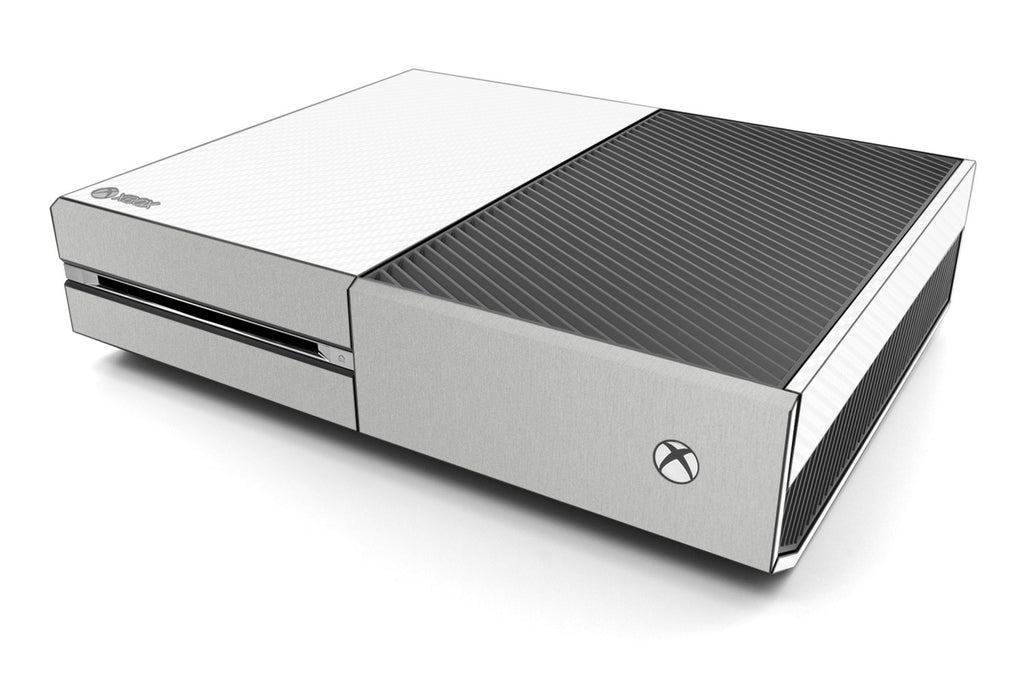 Xbox One Two/Tone - White/Brushed Aluminum - iCarbons