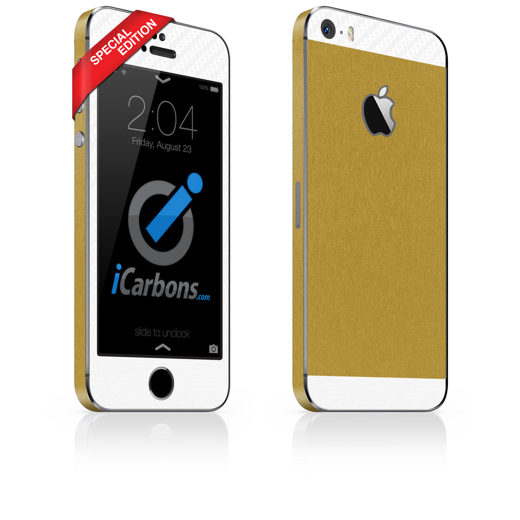 iPhone 5S - SE Brushed Gold/White Carbon Fiber - iCarbons - 1
