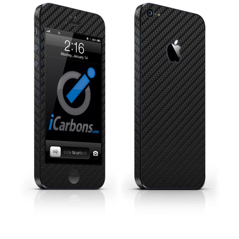 iPhone 5 Skin - Black Carbon Fiber - iCarbons - 1