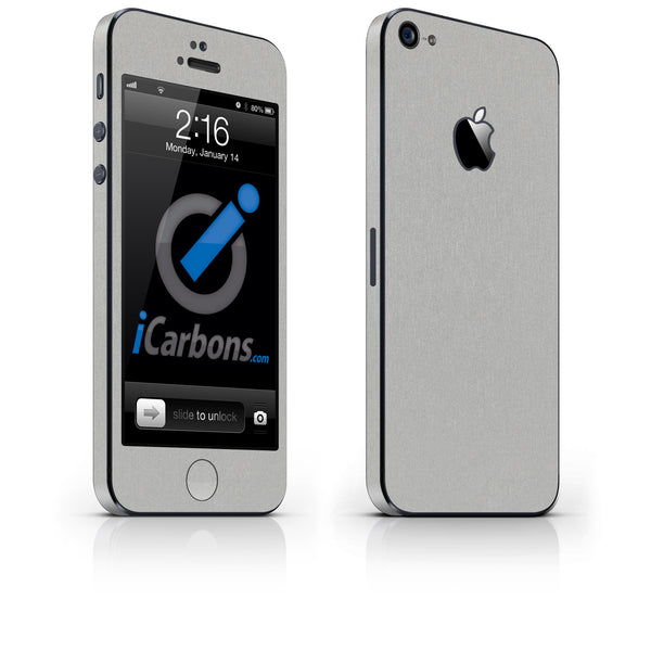 iPhone 5 Skin - Brushed Aluminum - iCarbons - 1