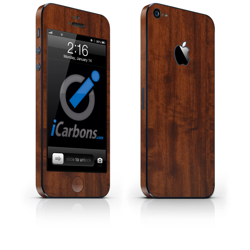 iPhone 5 Skin - Dark Wood - iCarbons - 1
