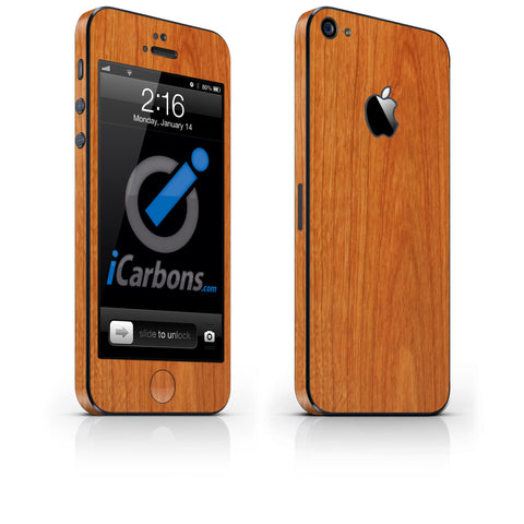 iPhone 5 Skin - Light Wood - iCarbons - 1