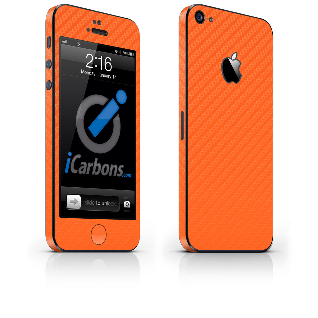 iPhone 5 Skin - Orange Carbon Fiber - iCarbons - 1