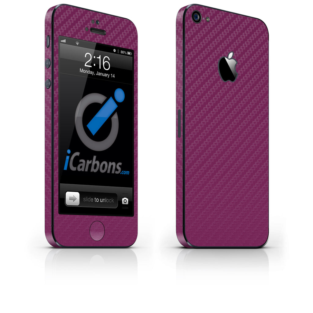 iPhone 5 Skin - Purple Carbon Fiber - iCarbons - 1