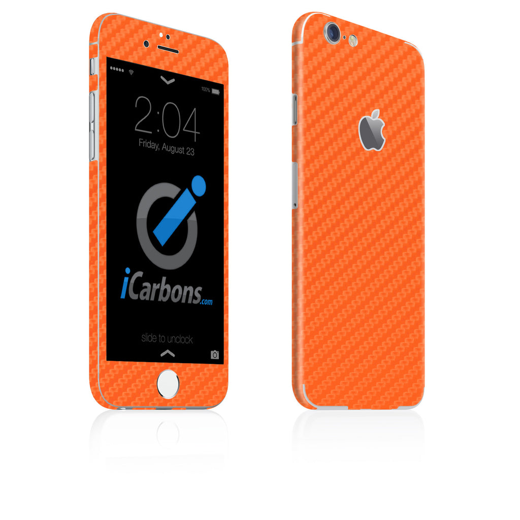 iPhone 6 / 6S Skin - Orange Carbon Fiber - iCarbons