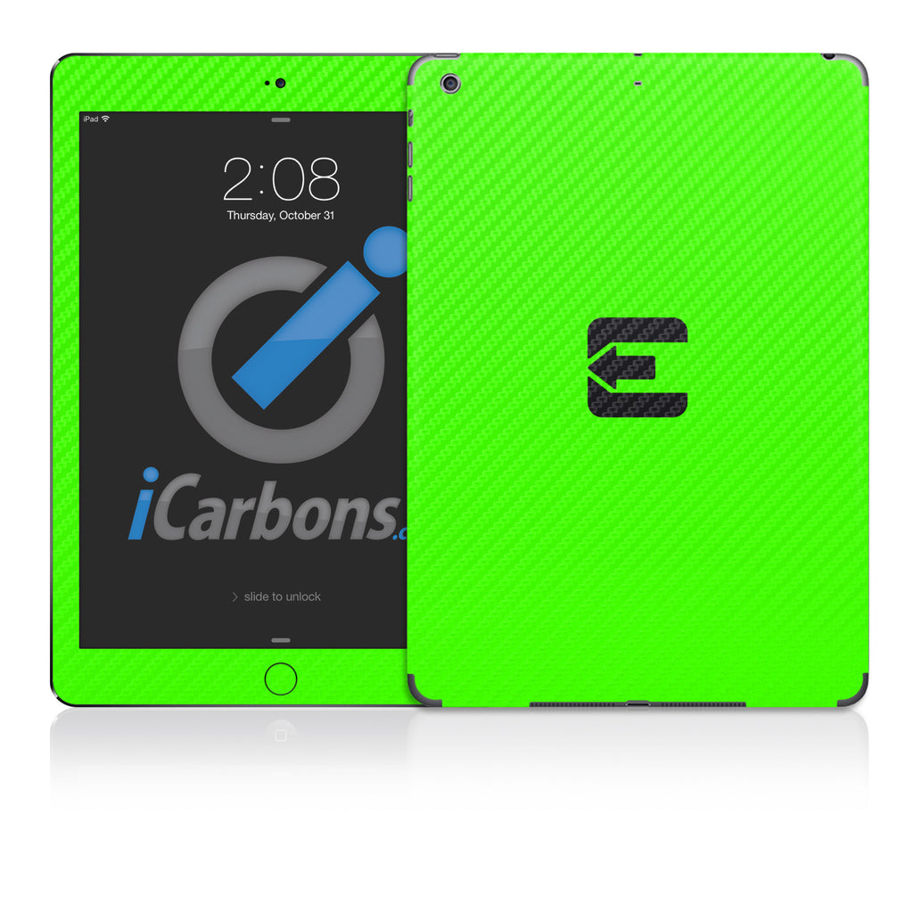 Official Evad3rs iPad Skin - Green Carbon Fiber - iCarbons - 1