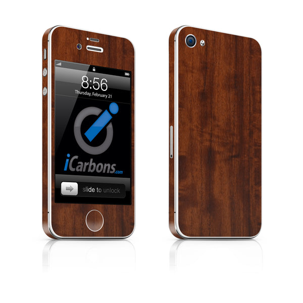 iPhone 4S Skin - Dark Wood - iCarbons