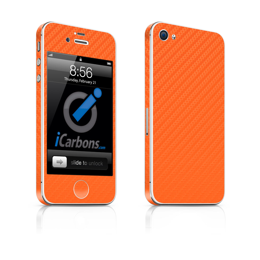 iPhone 4S Skin - Orange Carbon Fiber - iCarbons