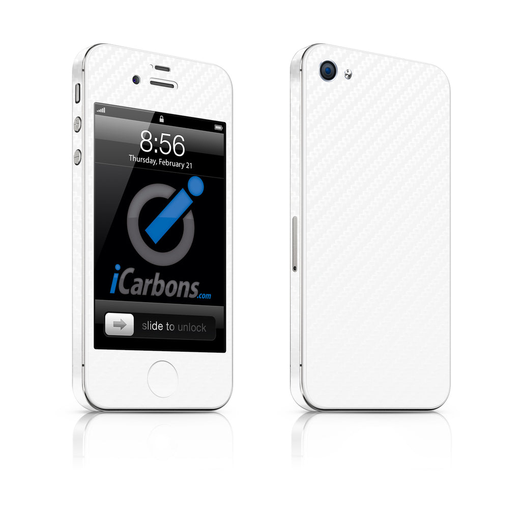iPhone 4S Skin - White Carbon Fiber - iCarbons