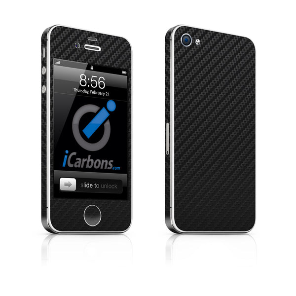 iPhone 4 Skin - Black Carbon Fiber - iCarbons