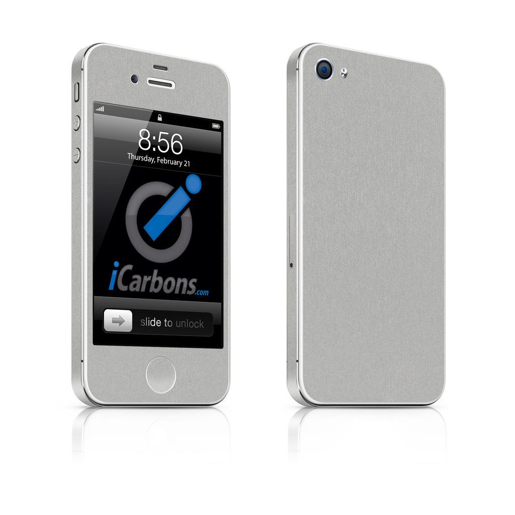iPhone 4 Skin - Brushed Aluminum - iCarbons