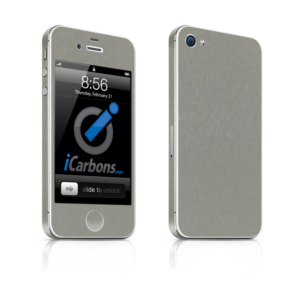 iPhone 4 Skin - Brushed Titanium - iCarbons