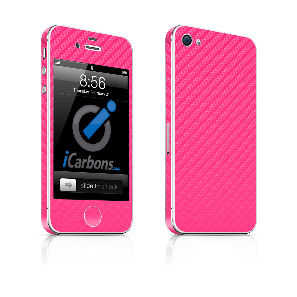 iPhone 4 Skin - Pink Carbon Fiber - iCarbons